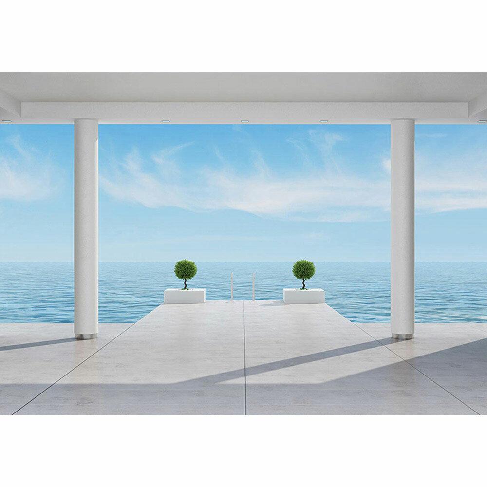 Fototapete Terrasse Balkon Säulen Meer Treppe Wolken liwwing no. 2951