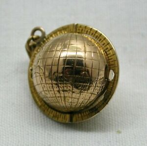 Antique-Unusual-15-Carat-Gold-World-Globe-Shaped-Locket-Pendant