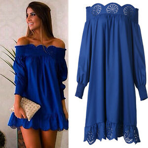 Fashion-Women-Girl-Boho-Ruffle-Sleeve-Off-Shoulder-Tops-Shirt-Blouse-Dress