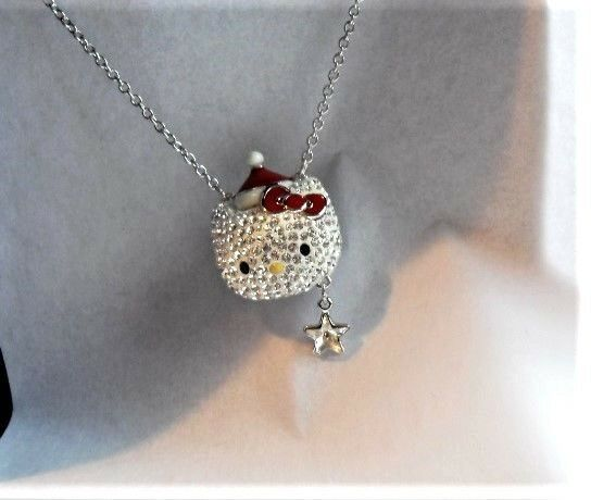 f4da9251e Swarovski Hello Kitty Holiday Santa Necklace - 1145289 for sale online |  eBay