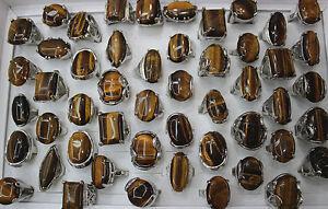 Wholesale Job Lots 30pcs Natural Stone Silver P Lady Charm Rings Fashion Jewelry