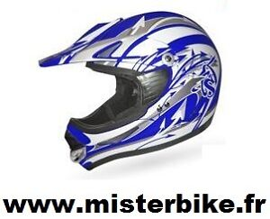 casque moto cross quad bleu blanc taille l 59 60 cm homologu neuf ebay. Black Bedroom Furniture Sets. Home Design Ideas