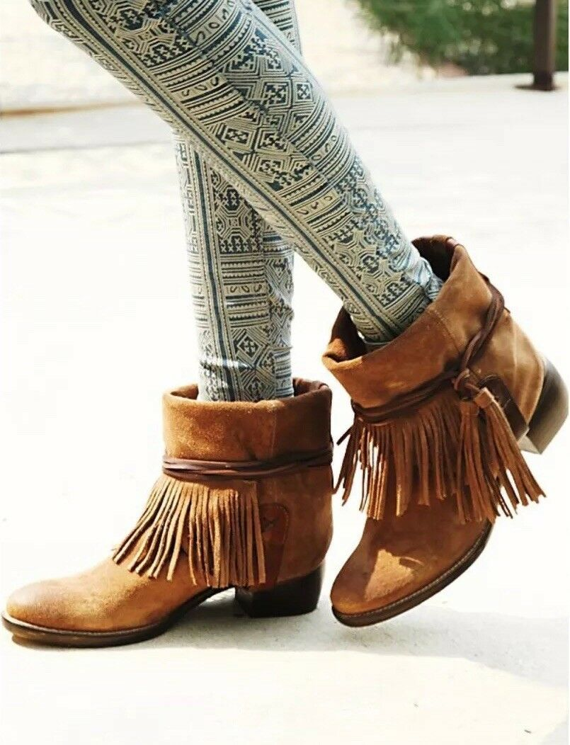 FREE PEOPLE Lonesome Fringe Ankle Boot SOLD OUT  Brown Suede Sz US 7   k