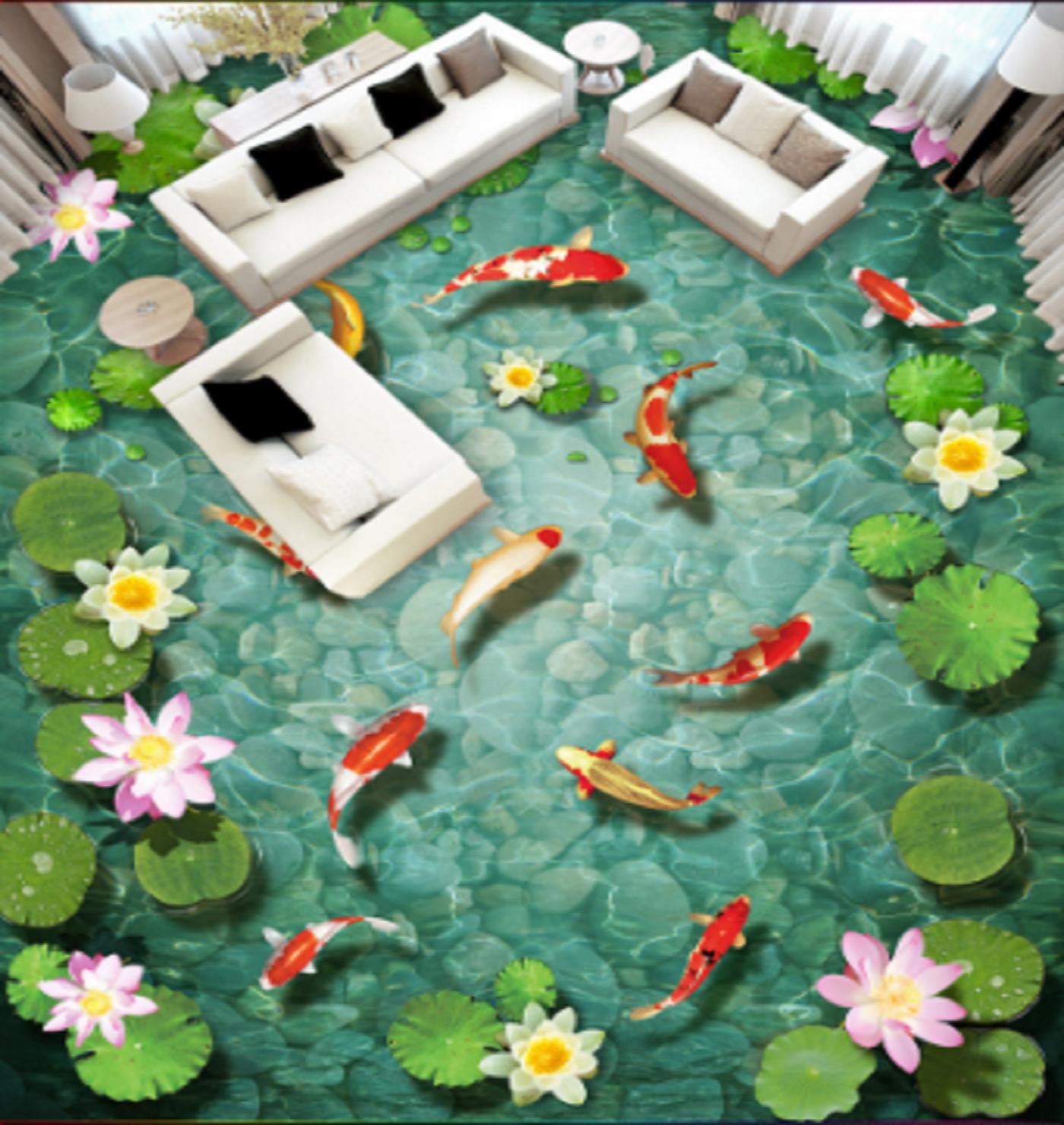 3D Lotus Fish Pond 5 Floor WallPaper Murals Wall Print 5D AJ WALLPAPER UK Lemon