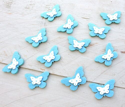 12 x Filz Schmetterlinge hellblau//weiss selbstklebend Filz//Holz Aufkleber