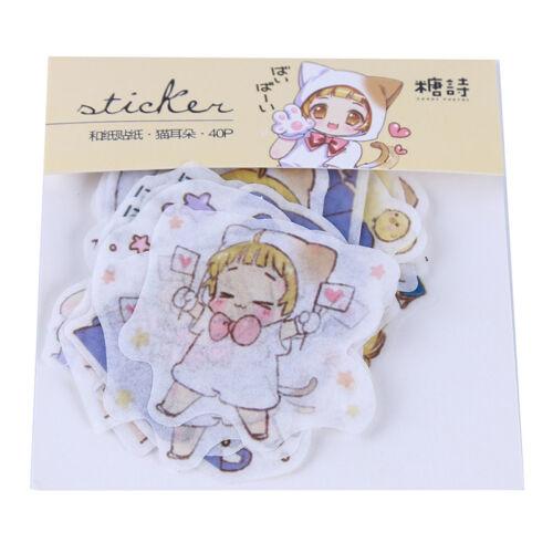 1 Set Cartoon Girl Paper Stickers DIY Scrapbooking Notebook Diary Album Decor G