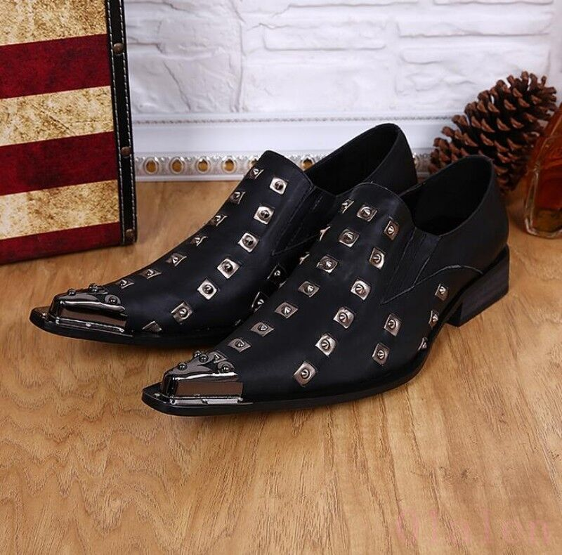 Uomo Italy Nightclub Formal Leather Rivet Metal Punk British Oxofrds Formal Nightclub Dress Shoes 46aa43