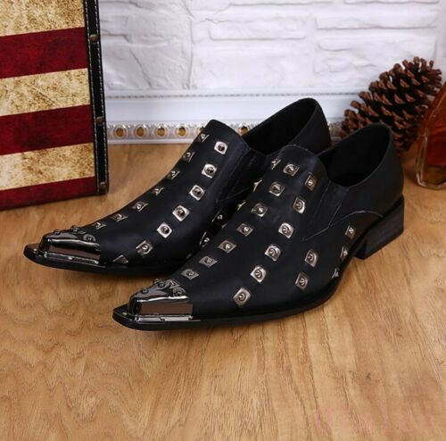 Mens Italy Nightclub Leather Rivet Metal Punk British Oxofrds Formal Dress Shoes