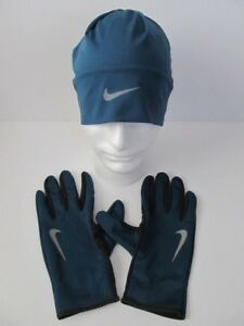 c8b78a772 Details about Nike Dri-Fit Men's Running Beanie Glove Set Space  Blue/Anthracite L/XL New