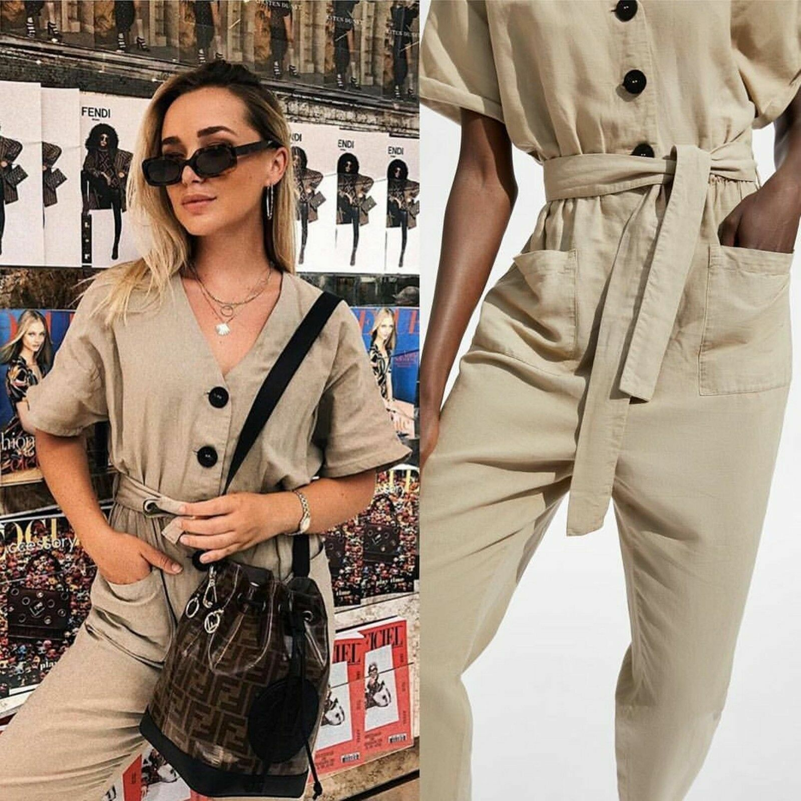 ZARA AW18 SAND JUMPSUIT WITH BUTTONS Size S
