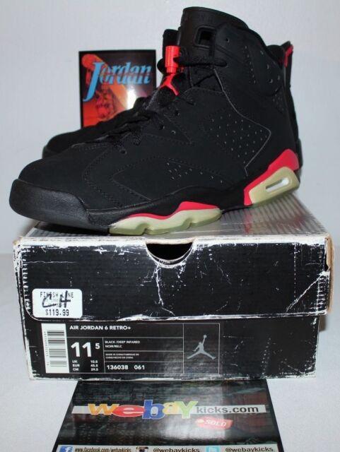 aa54c92a849485 Air Jordan Retro 6 VI Nike 2000 OG Infrared Black Sneakers Men s Size 11.5  New