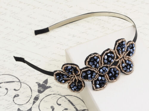Contemporary Black Rhinestone Gold Bead Accented Fashion Headband