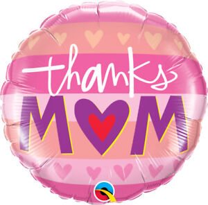 MOTHER-039-S-DAY-PARTY-SUPPLIES-18-034-THANKS-MUM-QUALATEX-ROUND-SHAPED-FOIL-BALLOON