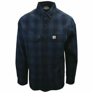 Carhartt Men's Relaxed Fit Marine Blue Plaid L/S Woven Shirt (377)