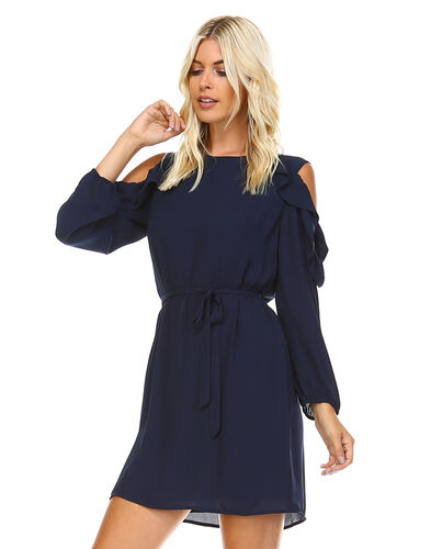 COLLECTIVE CONCEPTS NAVY COLD-SHOULDER RUFFLE DRESS. STYLED6114