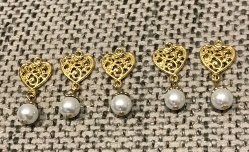 5 botones de oro y perla Borlas//asiática Vestido Botones//Blanco Botones De Lujo