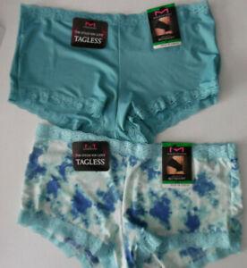 d97686f07a5 2 Maidenform Panty Lace Boy Short Boyshort 40760 Blue Green White ...