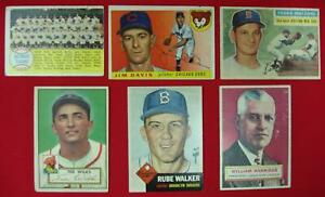 6-TOPPS-BASEBALL-CARDS-FROM-THE-1950-039-s-AM-LEAGUE-PRES-HARRIDGE-TIGERS-TEAM