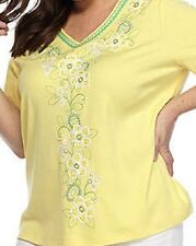Alfred Dunner shirt size 2X Bright Yellow, Green and White floral stitching