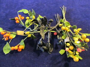 Vtg-Millinery-Fruit-Collection-Black-Yellow-Tiny-1-4-1-2-034-Shabby-German-H3191