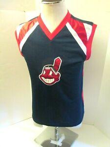 Cleveland-Indians-Boys-Chief-Wahoo-Sewn-Logo-Large-Sleeveless-Pullover-Shirt-New