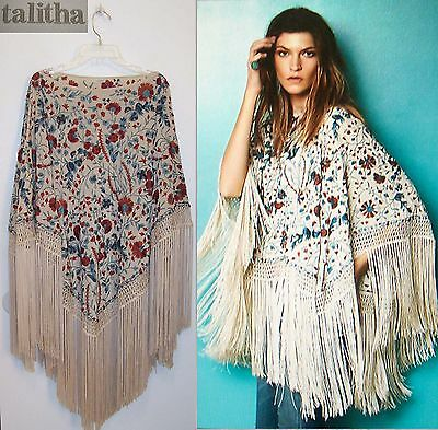 New! Talitha Sasha Fringed Embroidered Silk Poncho SOLD OUT IN STORES