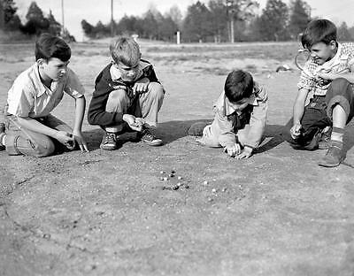 Photo. 1940s. Tennessee. 4 Boys Playing Marbles   eBay