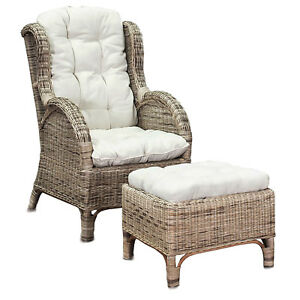 luxus relaxsessel ohrensessel fu hocker rattansessel korbsessel inkl polster ebay. Black Bedroom Furniture Sets. Home Design Ideas