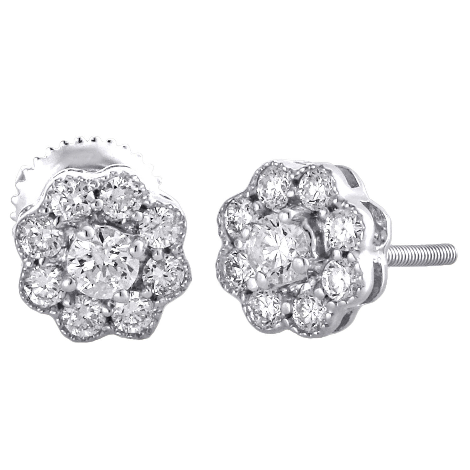 14K White gold Round Solitaire Diamond 7mm Flower Studs Earrings 0.50 CT.