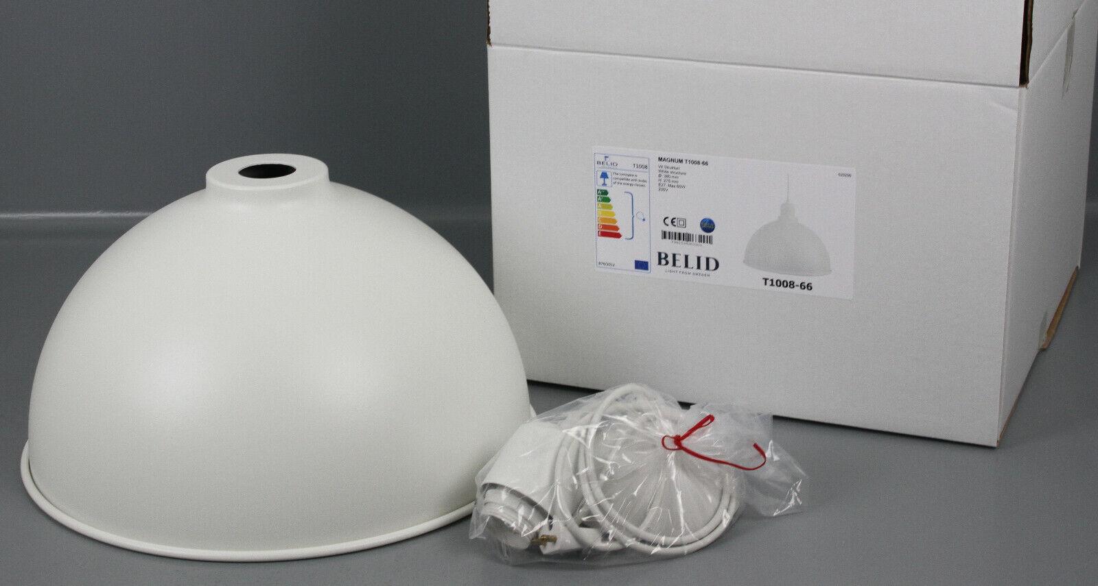 Belid Skandi-Schalen-Pendelleuchte Weiß Hängelampe Metall Lampe Ø38cm U2-1008-66