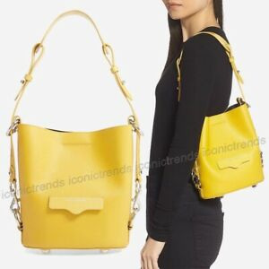 NWT-Rebecca-Minkoff-Small-Utility-Leather-Bucket-Bag-Sunflower-Yellow