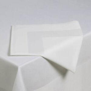 Pack-of-10-Napkins-Superior-Quality-Satin-Band-100-Egyptian-Cotton-White