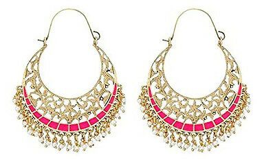 The Jewelbox Filigree Chaand Bali Gold Pt. Pink Meenakari Hoop Earring For Women