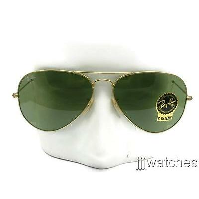 New Rayban Aviator Large Green G-15 Lens Gold Sunglasses RB3025 001/14 58 $165