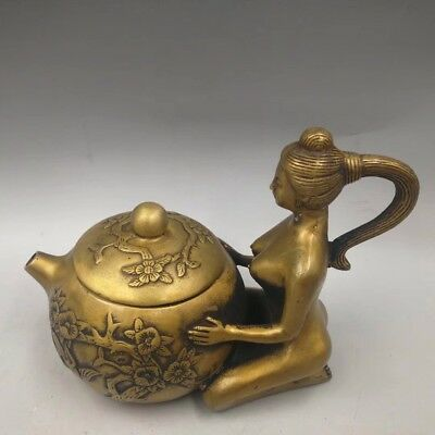 Hearty Chinese Antique Brass Beauty Female Teapot Easy To Repair