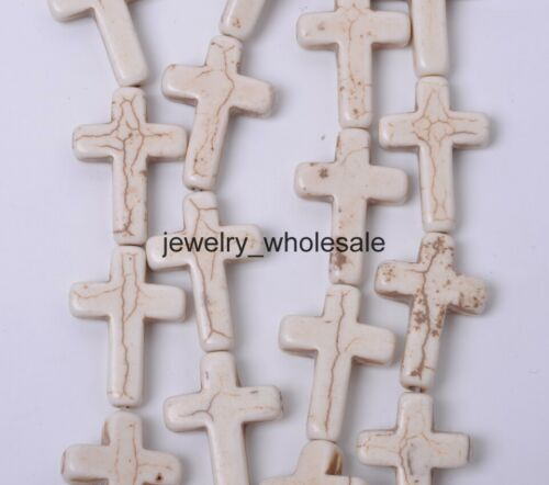 10pcs White Howlite Turquoise Beads Loose Cross Spacer Beads 24x18mm