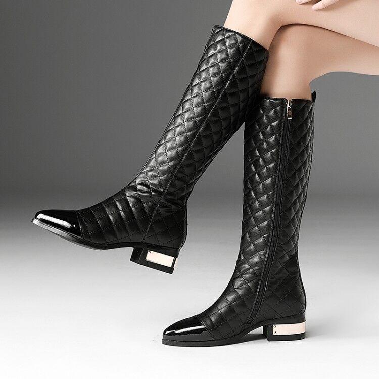 Para Mujer Nuevo Moda Cuero Acolchado Dos Tonos Tonos Tonos de tacón cubano la rodilla botas altas Zapatos cki  barato y de moda