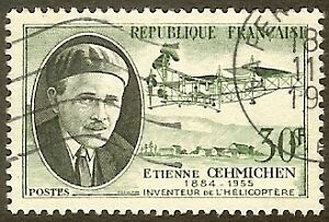 "FRANCE TIMBRE STAMP N°1098 ""OEHMICHEN, INVENTEUR DE L'HELICOPTERE"" OBLITERE TB"