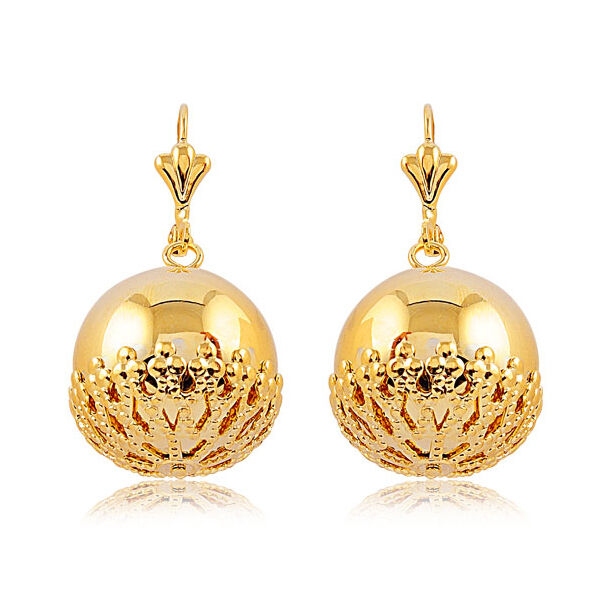 "1.75"" Yellow Gold Tone Round Ball Gold Plated Dangle Earrings with Lever Back"