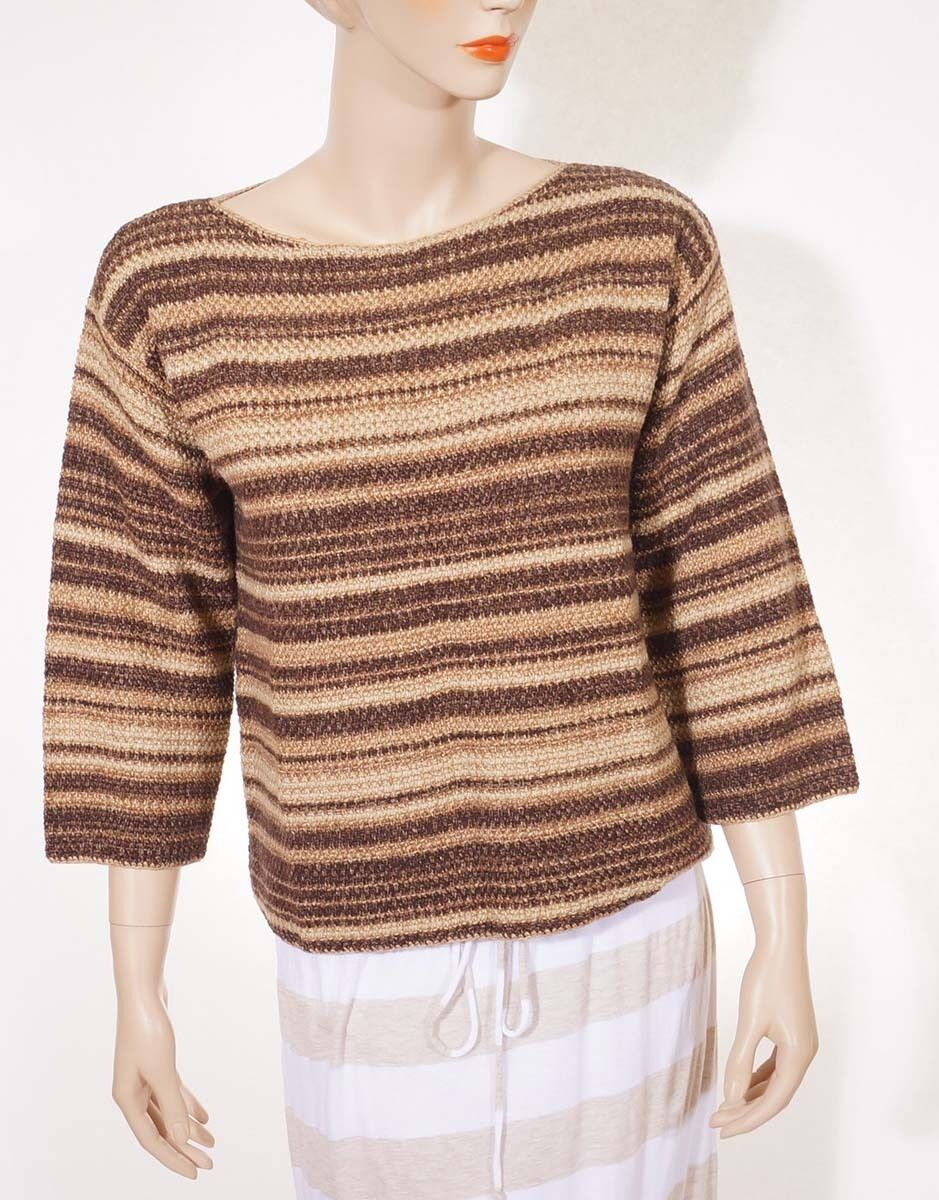 Ralph Lauren bluee Label Womens Brown Linen Cashmere Wool Silk Stripe Scoop Sweat