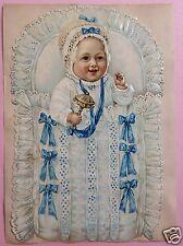 1v4: 29cm gr. Oblate Glanzbild Täufling Knabe Baby Rassel Steckkissen Puppe~1890