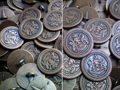 18mm 23mm Bronze Brass Metal Coat of Arms Military Shank Buttons MB130-MB131 X