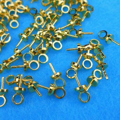 Wholesale 50PCS À faire soi-même Caution PIN Pearl Gemstone CAP OR 18K PLAQUE Bijoux Connecteur
