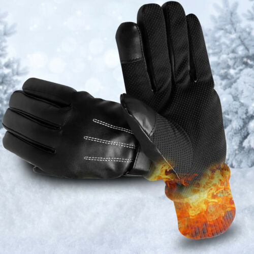 Winter Thermal Leather Gloves Touch Screen Waterproof Driving Motorcycle Gloves