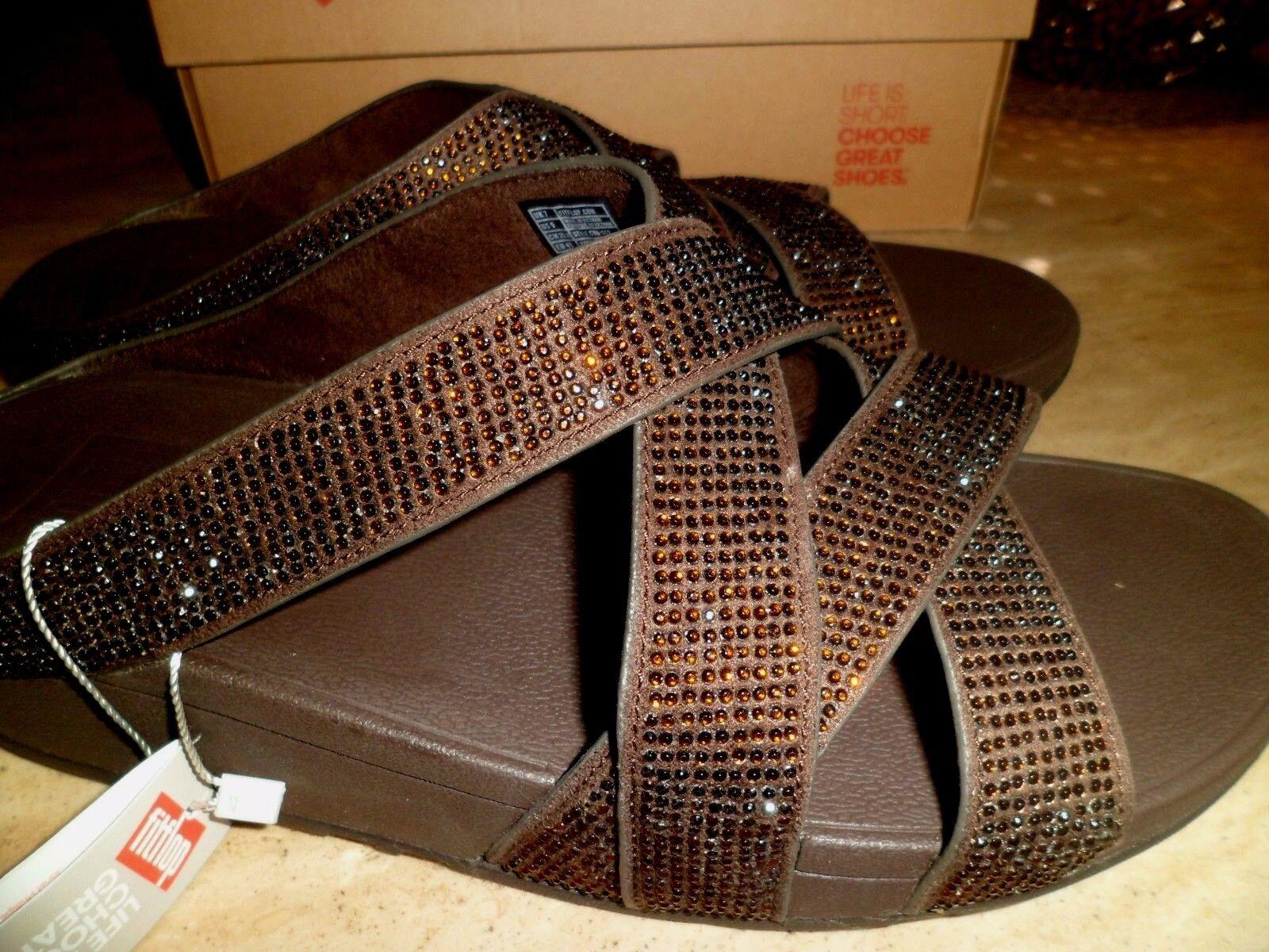 BNIB FitFlop FitFlop BNIB Slinky Rokkit criss cross slide in Bronze  UK 7 EU 41 4ee0e6