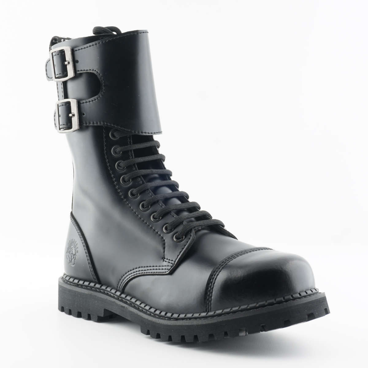 Grinders Camelot CS Black Leather Buckle Biker Steel Toe Goodyear Welted Boots