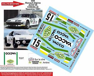 DECALS 1//18 REF 1017 PEUGEOT 205 GTI BOUQUET RALLYE TOURAINE 1987 RALLY