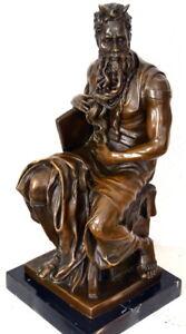 Figure En Bronze Moses De Michel Ange Hangefertigt