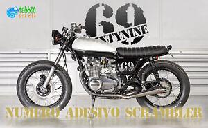 Cafe-Racer-Bobber-Brat-Tracker-stickers-moto-pegatinas-Numero-adesivo
