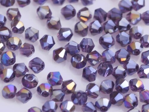 1 of 1 - 50pcs 6mm Bicone Faceted Crystal Glass Charm Loose Spacer Beads Reddish VioletAB